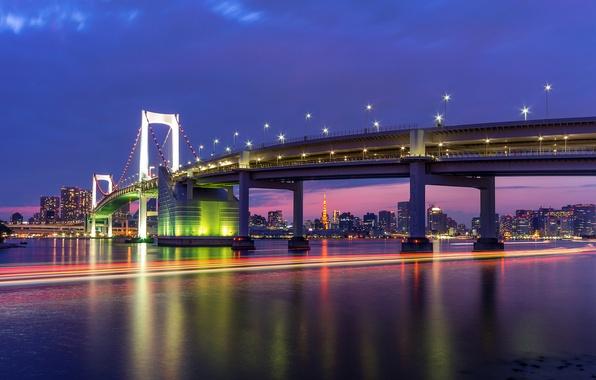 Picture the sky, night, bridge, lights, building, home, excerpt, Japan, lighting, Tokyo, lights, Bay, Tokyo, Japan, …