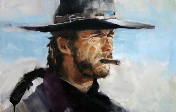 Picture face, background, cigar, Western, Clint Eastwood, Clint Eastwood