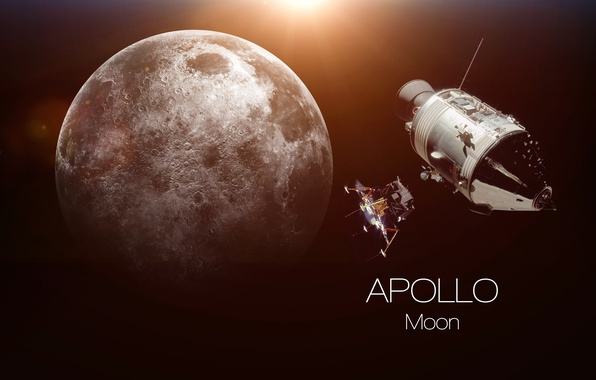 Photo wallpaper moon, Apollo, humanity, dream fulfilled