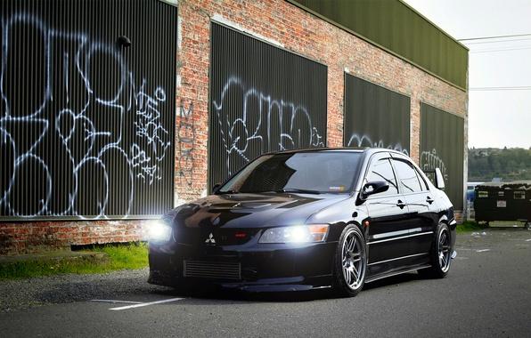 Picture black, Mitsubishi, Lancer, Evolution, Beautiful, Style, Lancer, JDM, Evolution, Mitsubishi, black. frontside