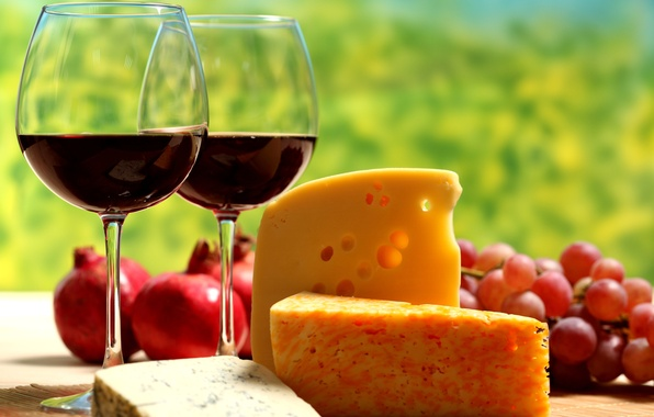 Picture table, wine, red, cheese, glasses, grapes, garnet, chunks