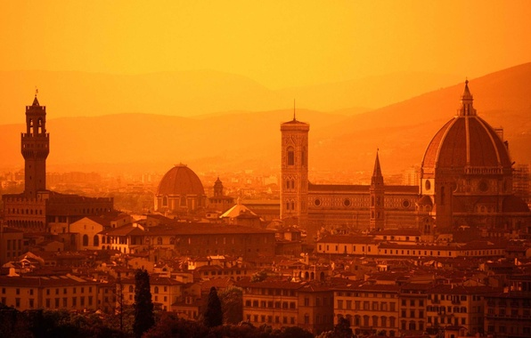 Picture Sunset, Home, The evening, Photo, Mountains, Cathedral, Italy, Hills, Building, Florence, Architecture, Italy, Tuscany, Santa …