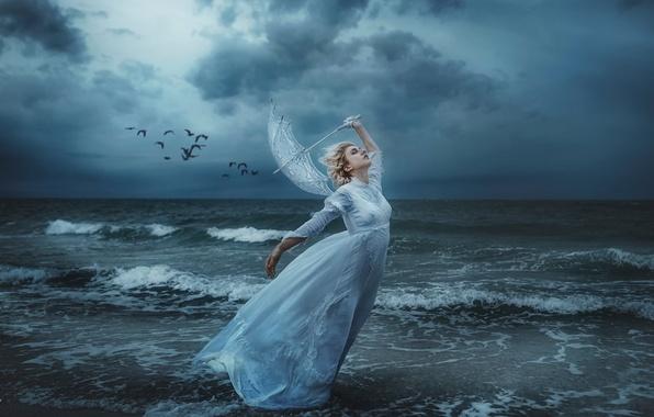 Picture sea, girl, birds, storm, the wind, shore, umbrella, TJ Drysdale, Save Me