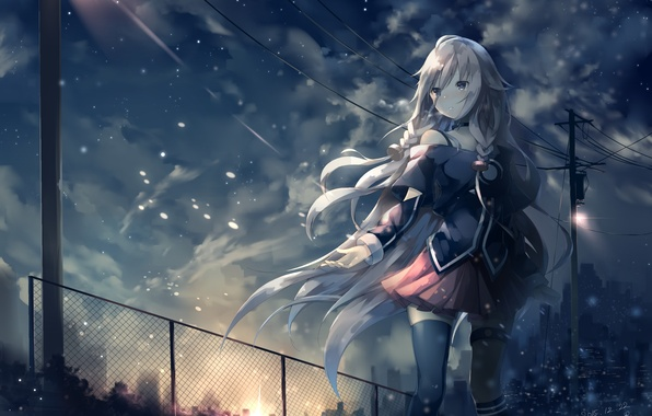 Picture the sky, girl, clouds, the city, home, anime, art, braids, vocaloid, ccrgaoooo, c.c.r