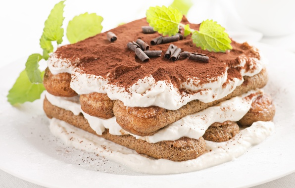 Picture cake, mint, cream, dessert, tiramisu