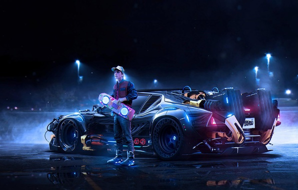 Picture car, art, back to the future, Back to the Future, Marty McFly