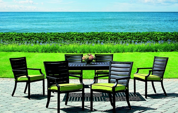 Picture greens, grass, water, nature, design, table, lawn, chairs, interior, sea. the ocean