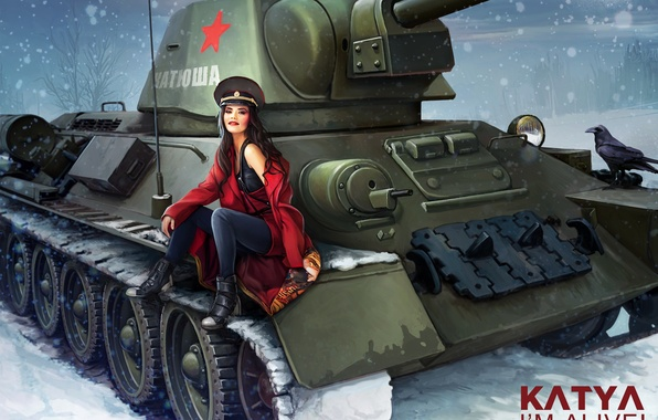 Picture winter, girl, snowflakes, figure, art, tank, USSR, in red, crow, cap, coat, average, World of …