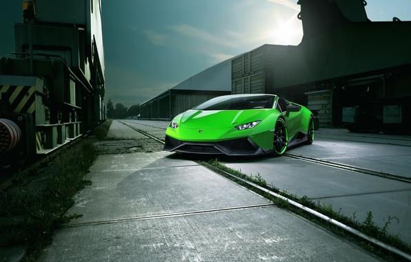 Picture car, auto, the sky, light, green, Lamborghini, Spyder, tuning, the front, Novitec, Torado, Huracan