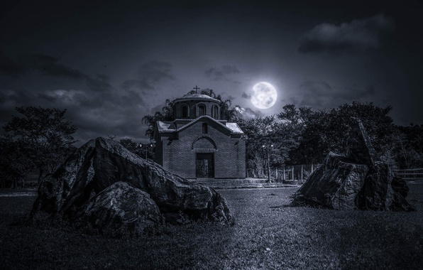 Picture the sky, grass, clouds, night, stones, the moon, Church, the full moon