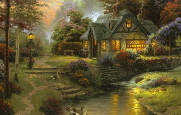Photo Wallpaper Painting Stillwater Cottage Bench Thomas Kinkade