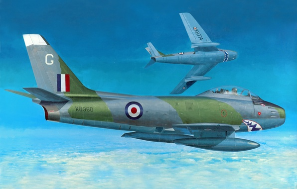 Picture the sky, figure, art, jet, fighter-bombers, single, The Italian air force, Sabre Mk-4, SABRE Mk. …
