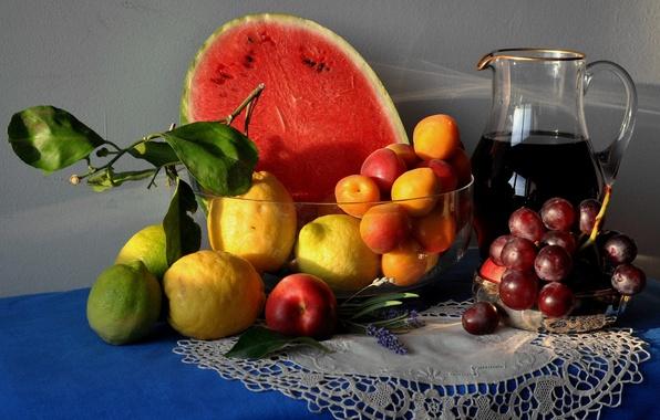 Picture table, lemon, watermelon, pitcher, still life