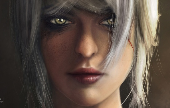 Picture look, girl, the game, art, green eyes, Witcher 3: Wild Hunt, Cirilla