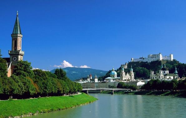 Picture mountains, bridge, the city, river, castle, Chapel