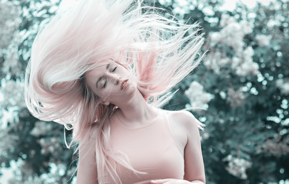 Picture girl, hair, pink