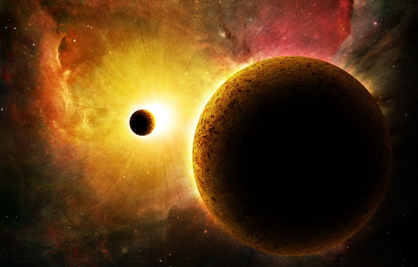 Picture the sun, space, planet, satellite, galaxy
