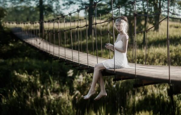 Picture girl, bridge, legs, bokeh, Lena, Tatiana Mercalova