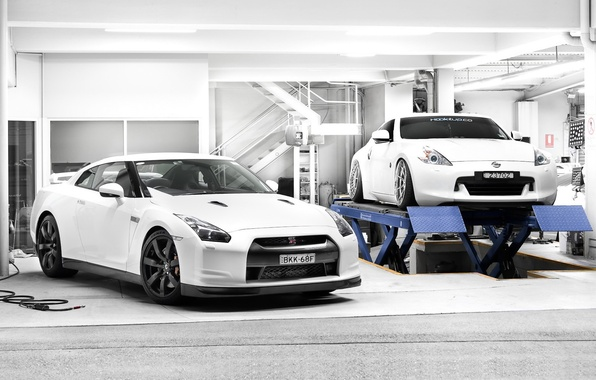 Picture white, tuning, garage, Nissan, two, Nissan, gt-r, 370z, lift