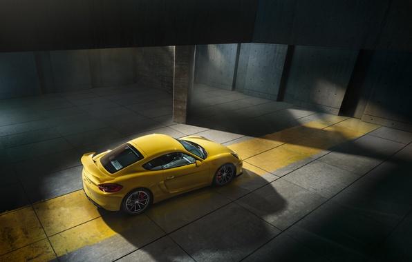 Picture Porsche, Cayman, Yellow, Parking, Supercar, GT4, 2015, Top View