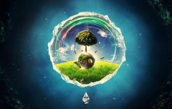 Picture tree, round, creative, render, digital art