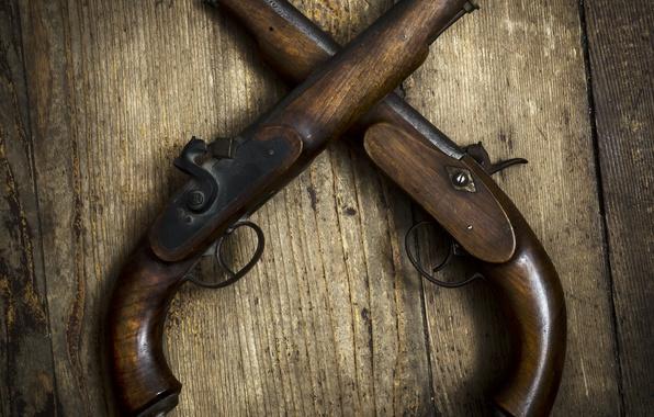 Picture metal, wood, old pistoras