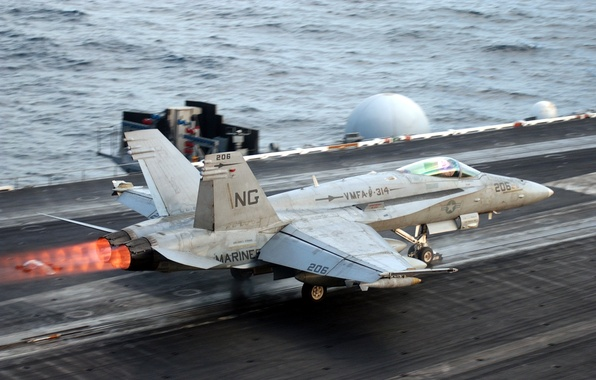"""Picture the rise, """"Hornet"""", the aircraft carrier, FA-18 Decollage"""