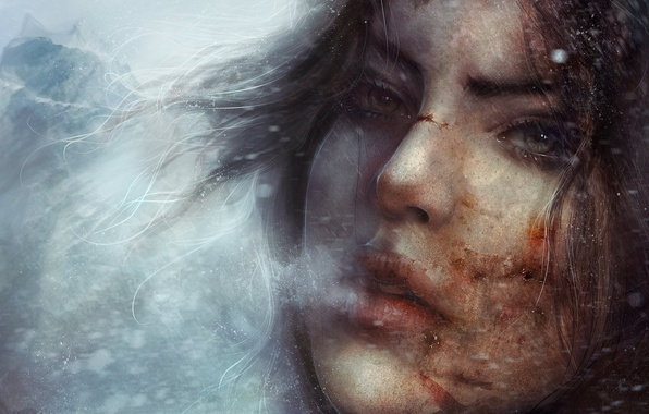 Picture cold, winter, eyes, look, girl, snow, face, the game, art, couples, lips, Tomb Raider, anomaly, …