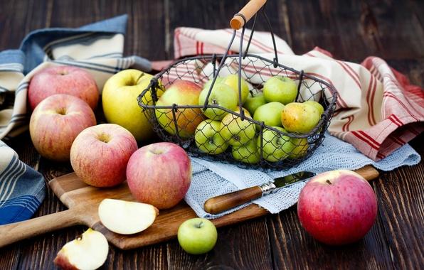 Picture table, apples, knife, Board, fruit, basket, swipe, Julia Khusainova