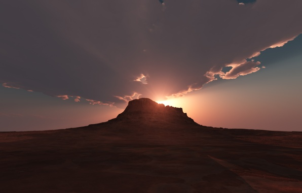 Picture dawn, desert, mountain