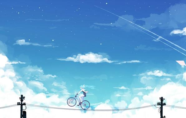 Picture the sky, girl, clouds, bike, wire, anime, art, vocaloid, hatsune miku, bai yemeng