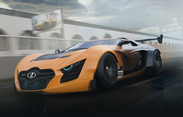 Picture Concept, Car, Lada, Speed, Front, Future, Track, Next, 3D Graphics