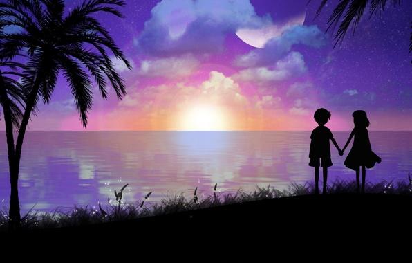 Picture sea, landscape, palm trees, shore, the evening, boy, art, girl, silhouettes, toyboj