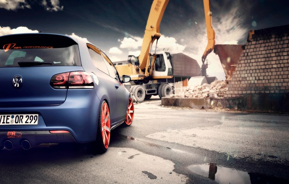 Picture road, the sky, asphalt, blue, wall, brick, crane, volkswagen, puddles, golf, gti
