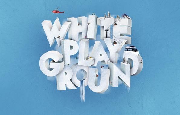 Picture winter, snowboard, ski, mountain, sports, white playgraund