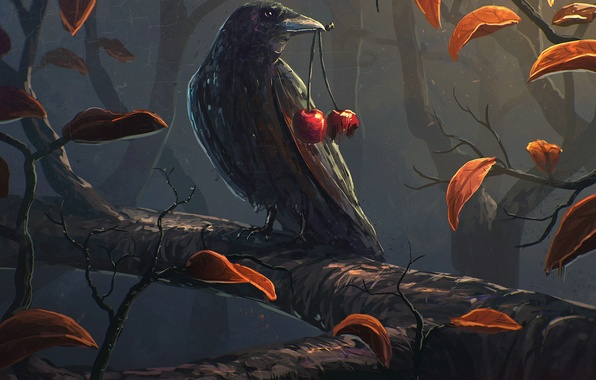 Picture leaves, cherry, bird, branch, art, crow