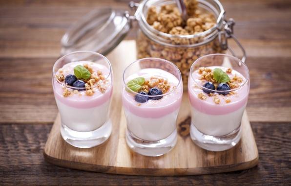 Picture berries, blueberries, nuts, dessert, nuts, cocktail, blueberry, berries, yogurt, yogurt