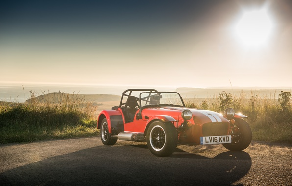 Picture machine, the sky, grass, asphalt, lights, sports car, Seven, the front, Caterham, 310R