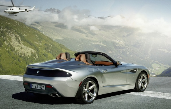 Picture the sky, clouds, mountains, Roadster, silver, BMW, BMW, helicopter, rear view, Zagato, Zagato, Roadster