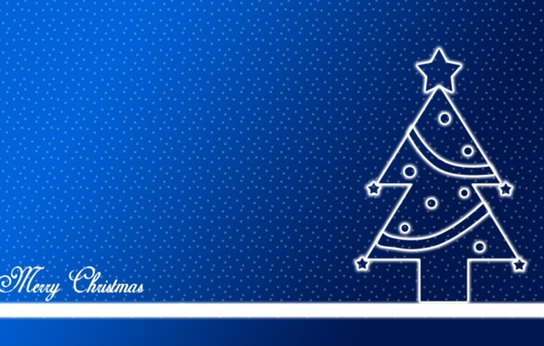 Picture snow, holiday, star, tree, new year, spruce, point, polka dot, star, new year, blue background, …