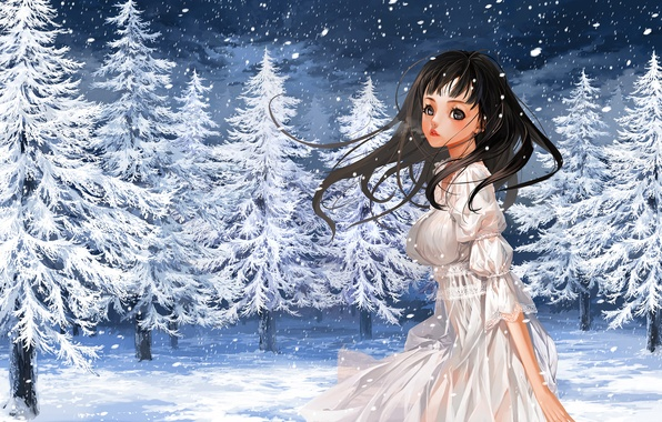 Picture winter, girl, snow, nature, tree, anime, art, couples, justminor
