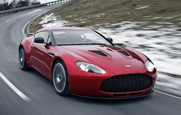 Picture road, snow, Aston Martin, aston martin, the front, beautiful car, v12, B12, Zagato, zagato, supercar.red