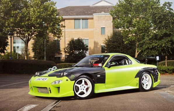 Picture green, tuning, profile, Mazda, green, Mazda, RX7, Drift Car