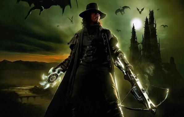 Picture night, weapons, the moon, hat, actor, male, vampires, Hugh Jackman, gabriel, van Helsing, crossbow, hugh …