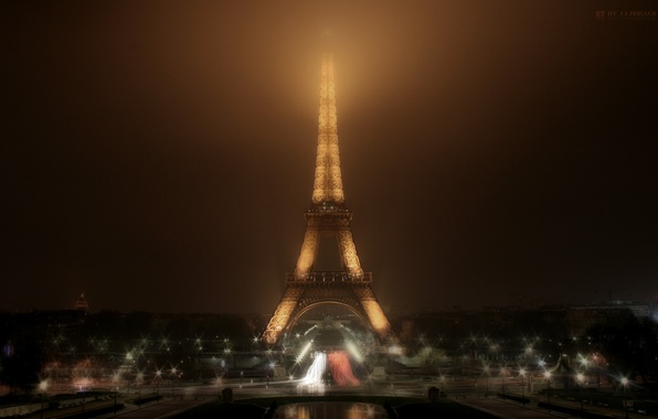 Picture night, the city, photo, tower, Paris, treatment, Paris, picture, Eiffel