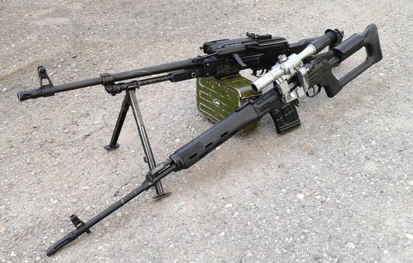 Picture cool, SVD, PKM, Dragunov sniper rifle, machine gun Kalashnikov modernized