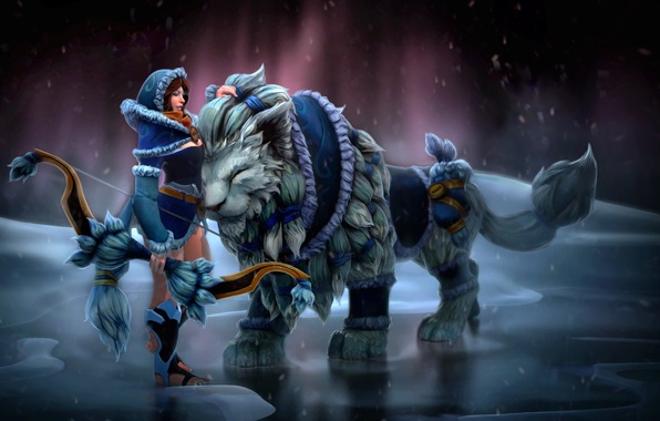 Picture cold, ice, winter, cat, girl, Archer, weasel, dota, Milota, Mirana, POTM, Mimi