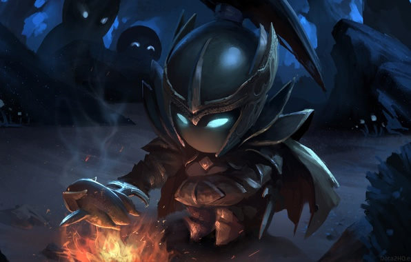 Picture girl, art, the fire, chibi, Dota 2, Phantom Assassin, Mortred