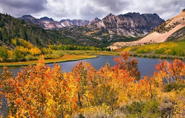 Photo wallpaper autumn, mountains, trees, river, landscape, leaves