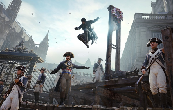 Picture murder, soldiers, assassin, guards, guillotine, Assassin's Creed: Unity